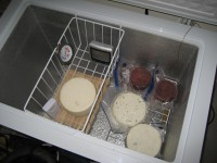 Several Cheeses Aging In Sealed Chest Type Freezer With External Thermostat