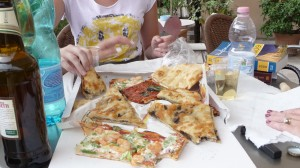 June 2009 Pizza Store Takeaway Supper On Rooftop Patio, Rome, Italy