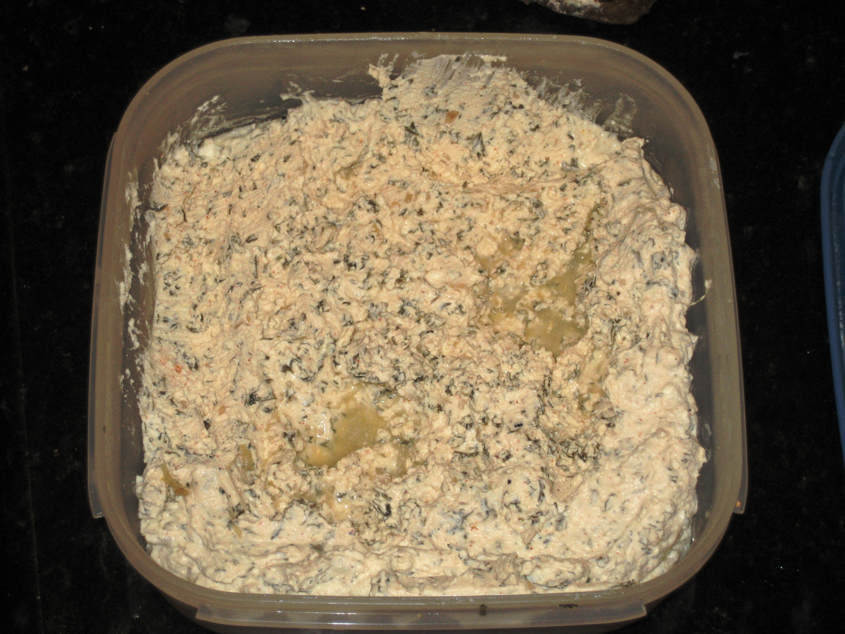 Cream Cheese using Half & Half with herbs, 5 days old, small amount of whey.