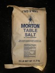 US made Morton brand 25 pound bag of non-iodized Table Salt with anticaking sodium silicoaluminate